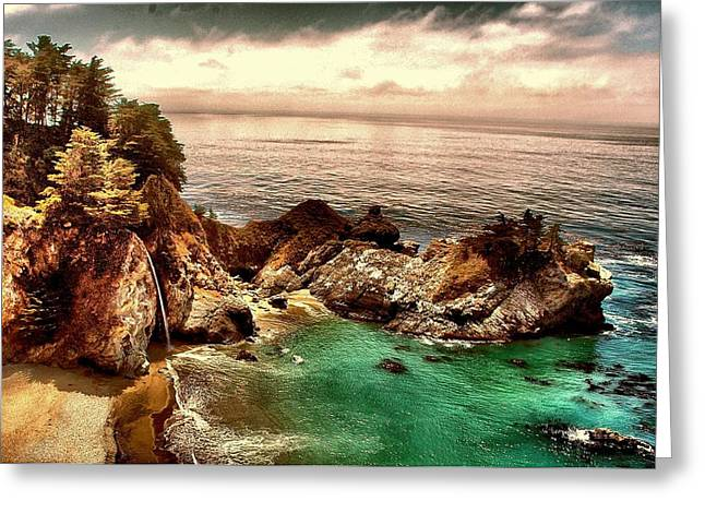 Big Sur Beach Digital Art Greeting Cards - McWay Falls Greeting Card by Edward Castro