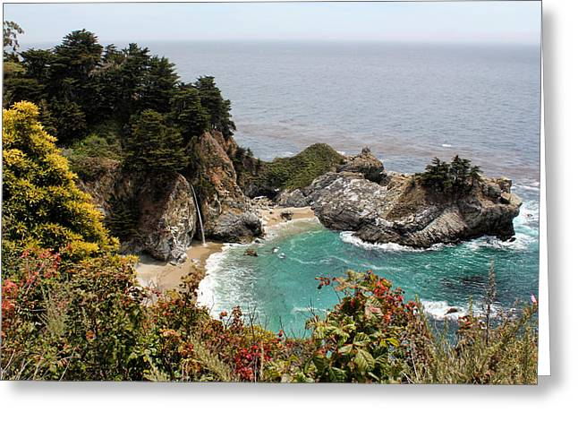 Pfeiffer Beach Greeting Cards - McWay Falls Greeting Card by Judy Vincent