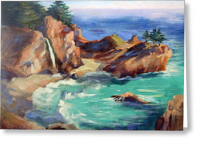 Azur Greeting Cards - McWay Falls Greeting Card by Karin  Leonard