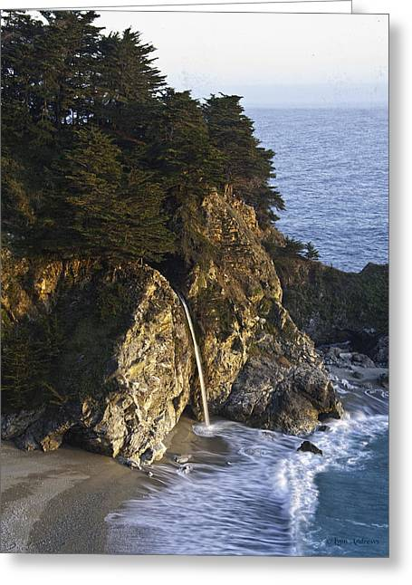 Big Sur Beach Greeting Cards - McWay Falls Greeting Card by Lynn Andrews