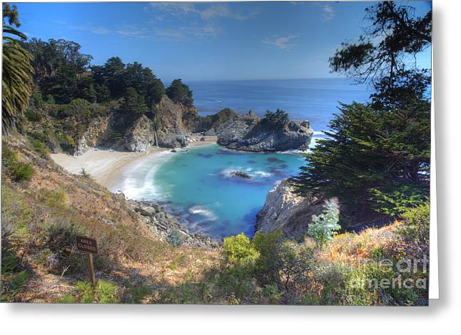 Recently Sold -  - Pfeiffer Beach Greeting Cards - McWay Falls Greeting Card by Marco Crupi