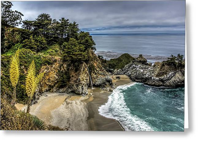 Pfeiffer Beach Greeting Cards - McWay Falls Greeting Card by Maria Coulson