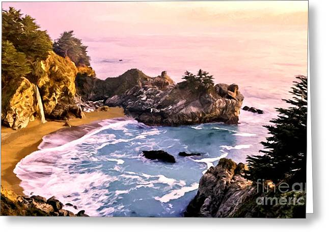 Recently Sold -  - Pfeiffer Beach Greeting Cards - McWay Falls Pacific Coast Greeting Card by  Bob and Nadine Johnston