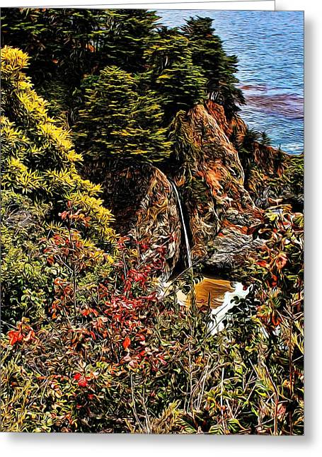 Pfeiffer Beach Digital Art Greeting Cards - McWay Falls Painted Greeting Card by Judy Vincent