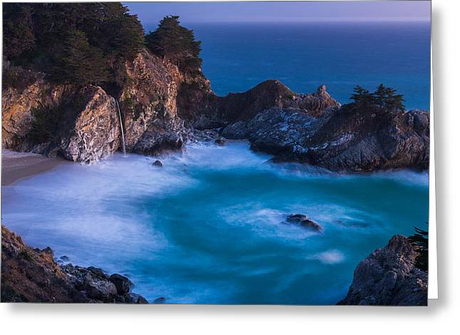 Pfeiffer Beach Greeting Cards - McWay Falls Sunset Greeting Card by About Light  Images