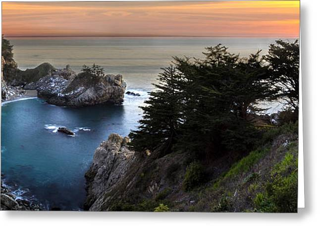 Big Sur California Greeting Cards - Mcway Falls Sunset Greeting Card by Brad Scott