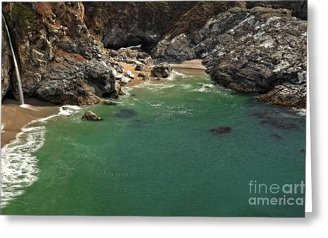 Big Sur Ca Greeting Cards - McWay Into The Bay Greeting Card by Adam Jewell