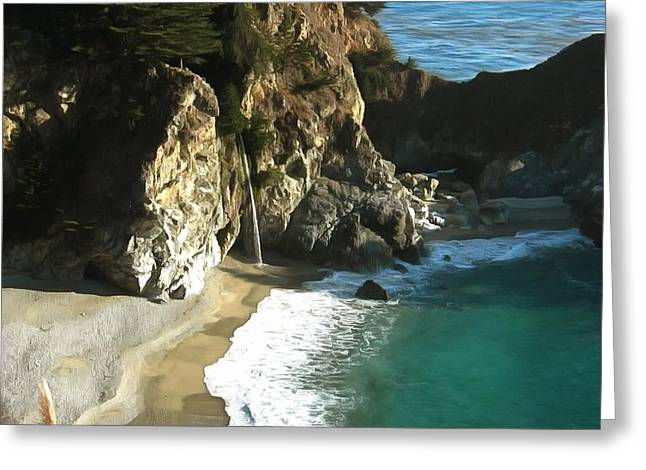 Big Sur Greeting Cards - McWay Waterfall Big Sur Greeting Card by Studio Artist