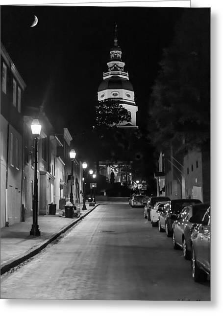 Night Lamp Greeting Cards - MD State House At Night Greeting Card by Brian Wallace