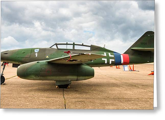 Me262 Greeting Cards - ME-262 Side-On Greeting Card by Alan Roberts