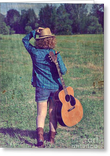 Country Cowgirl Greeting Cards - Me and my Guitar Greeting Card by Sophie Vigneault