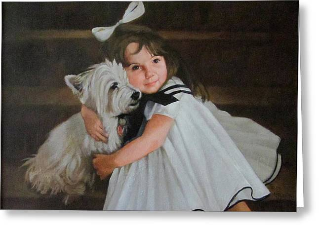 Janet Mcgrath Greeting Cards - Me and My Scottie Greeting Card by Janet McGrath