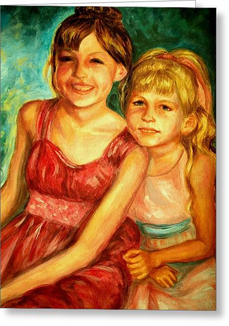 Dress Greeting Cards - Me and my sister Greeting Card by Em Scott