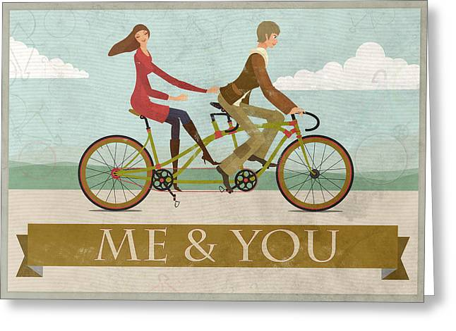 Messenger Greeting Cards - Me and You Bike Greeting Card by Andy Scullion