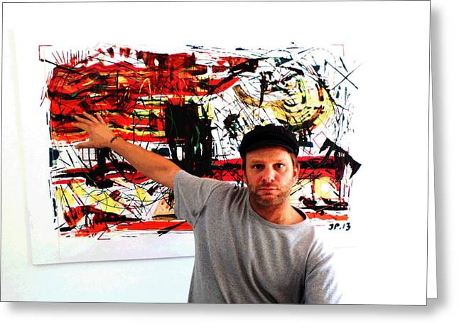Poor Education Greeting Cards - Me Artist At His Art Exhibition  Abstract Paintings Greeting Card by Sir Josef  Putsche