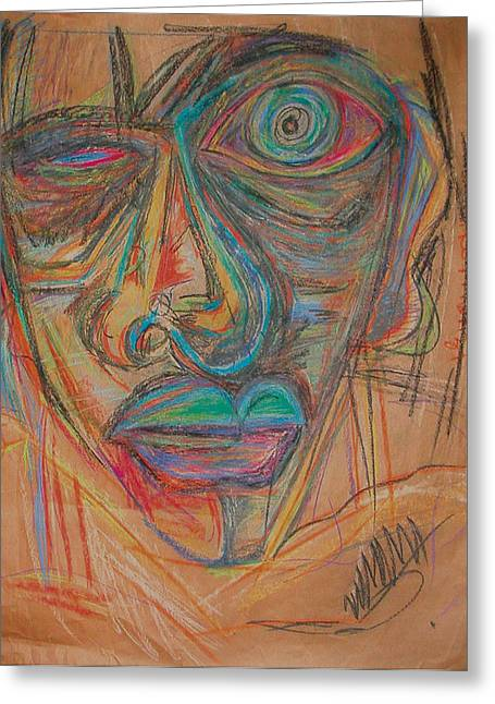 Depression Pastels Greeting Cards - Me Greeting Card by Mike Manzi