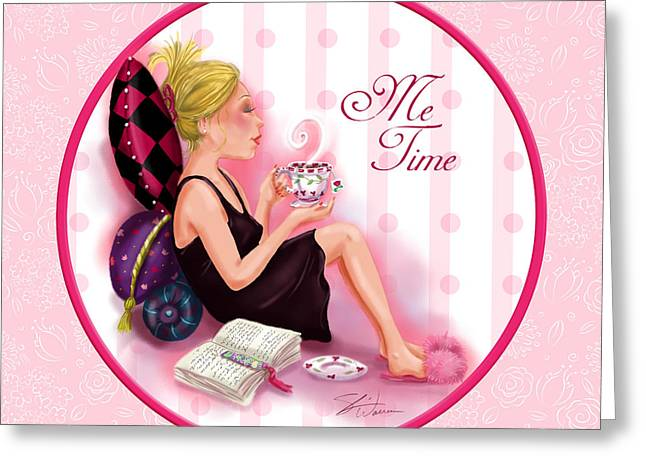 Cocktail Mixed Media Greeting Cards - Me Time Greeting Card by Shari Warren