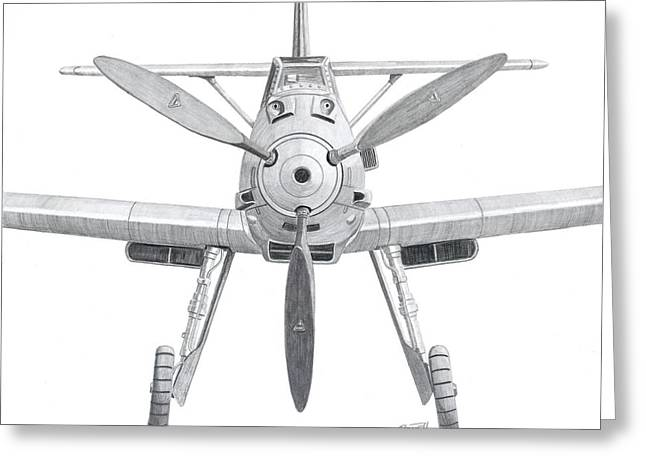 Symmetry Axis Greeting Cards - A WWII German Messerschmidt BF109 Luftwaffe Fighter plane in a close up drawing. Greeting Card by Rick Bennett