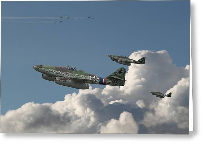 Fighter Jet Greeting Cards - Me262- Eagles Rising Greeting Card by Pat Speirs