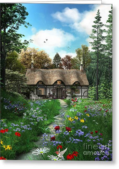 Thatch Digital Greeting Cards - Meadow Cottage Greeting Card by Dominic Davison
