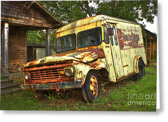Chevrolet Pickup Truck Greeting Cards - Rusty and Tired Meadow Gold Milk Ford Greeting Card by Reid Callaway