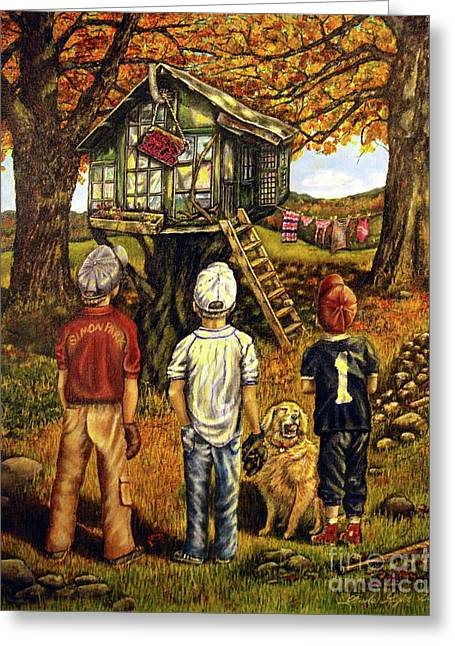 Baseball Art Greeting Cards - Meadow Haven Greeting Card by Linda Simon