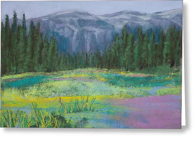 Red Leaves Pastels Greeting Cards - Meadow in the Cascades Greeting Card by David Patterson