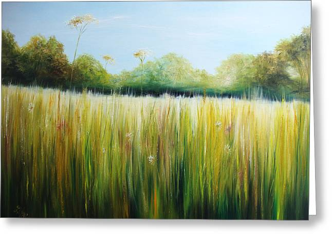 Tall Daises Greeting Cards - Meadow Landscape Greeting Card by Sue Wills