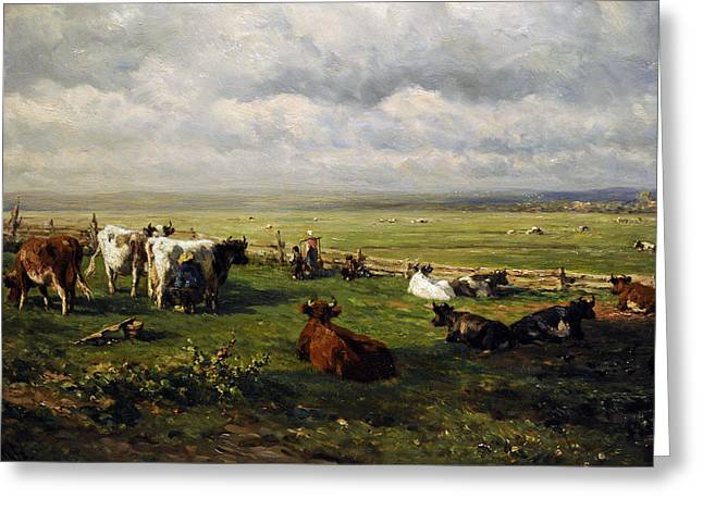 Verdant Greeting Cards - Meadow Landscape With Cattle, C. 1880, By Willem Roelofs 1822-1897 Greeting Card by Bridgeman Images