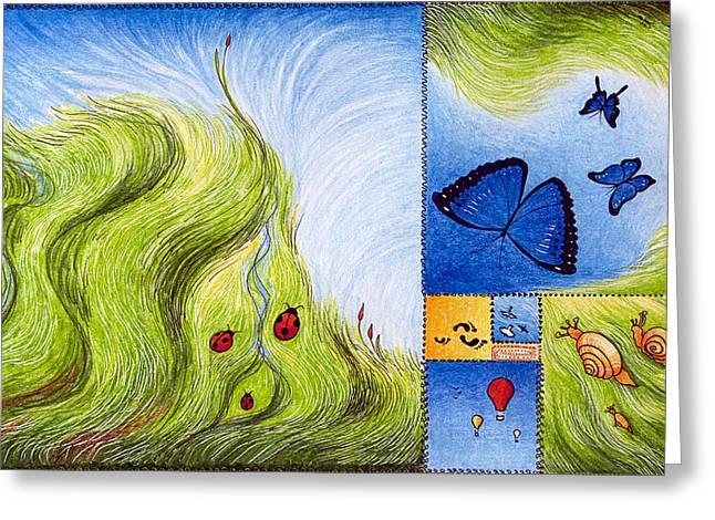 Helix Drawings Greeting Cards - Meadow of Fibonacci Greeting Card by Ida  Novotna