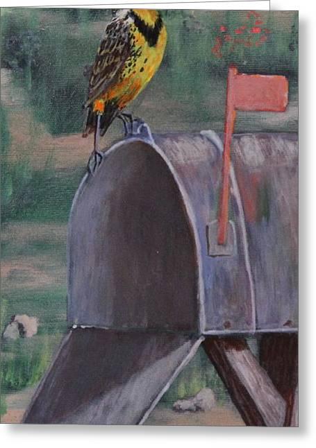 Bird On Tree Drawings Greeting Cards - Meadow Soloist II Greeting Card by Bob Williams
