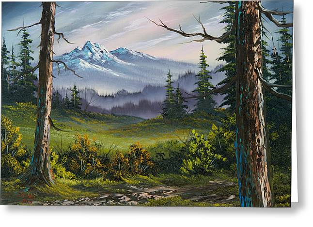 Bob Ross Paintings Greeting Cards - Meadow View Greeting Card by C Steele