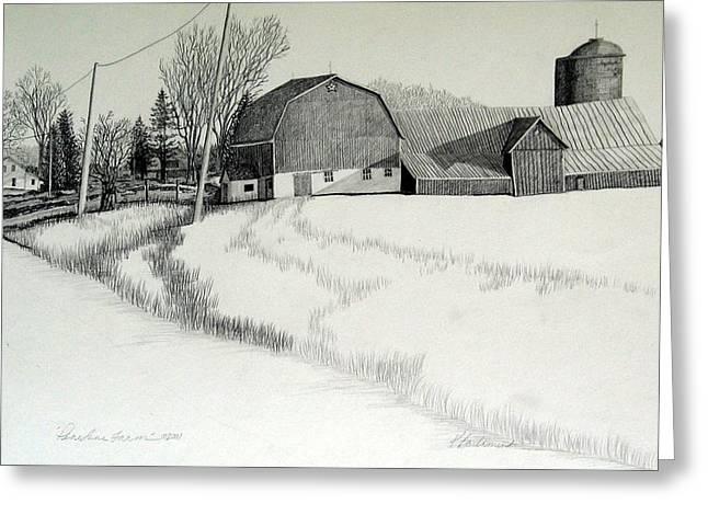 Barn Door Drawings Greeting Cards - Meadow View Road Greeting Card by Kathleen Barlament