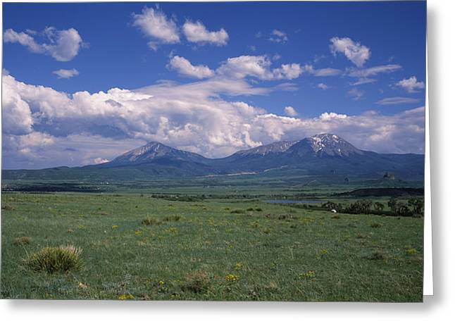 River Valley Greeting Cards - Meadow With Mountains Greeting Card by Panoramic Images