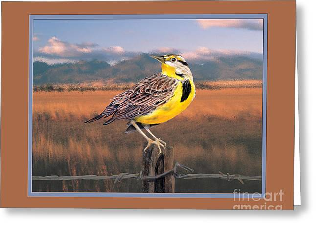 Barbed Wire Fences Pastels Greeting Cards - Meadowlark on the Fence 2m Greeting Card by Kathryn Yoder
