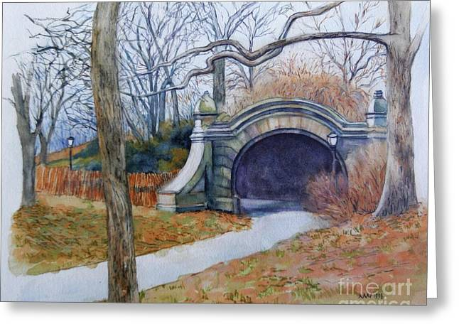 Park Scene Paintings Greeting Cards - Meadowport Arch Prospect Park Greeting Card by Nancy Wait