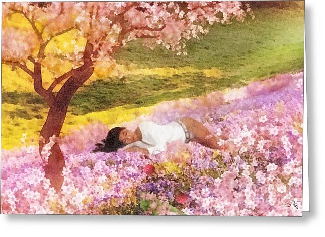 Sakura Paintings Greeting Cards - Meadows of Heaven Greeting Card by Mo T