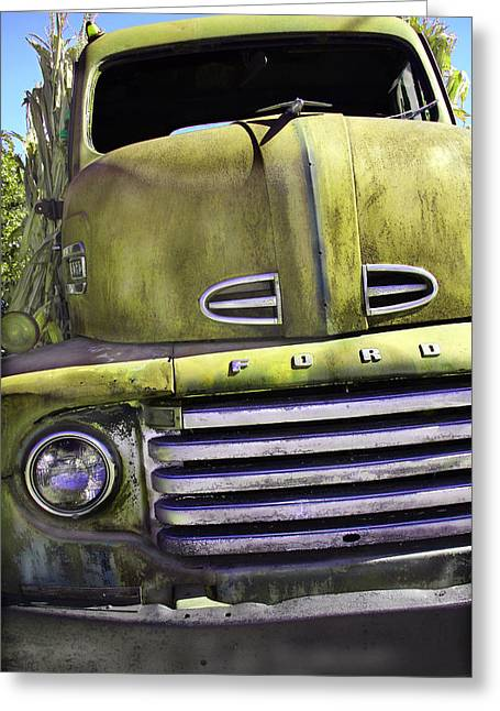 Pickup Greeting Cards - Mean Green Ford Truck Greeting Card by Steven Bateson