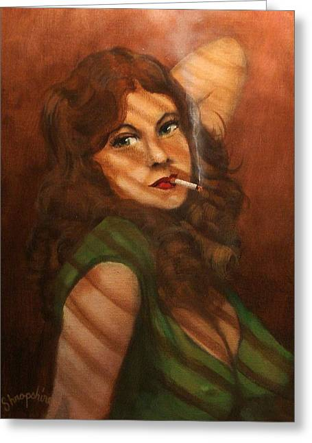 Film Noir Paintings Greeting Cards - Mean in Green Greeting Card by Tom Shropshire