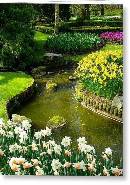 Geobob Greeting Cards - Meandering Stream in Spring Flower Garden Keukenhof near Lisse Netherlands Greeting Card by Robert Ford