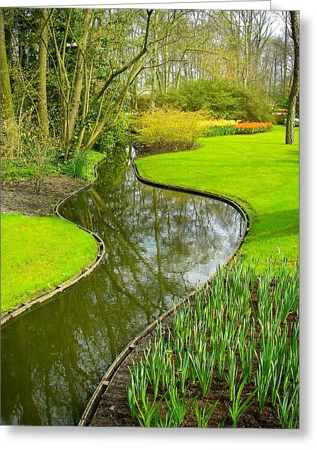 Meandering Stream Through Keukenhof Gardens Near Lisse Netherlands Greeting Card by Robert Ford