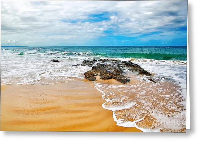 Meandering Waves On Tropical Beach Greeting Card by Kaye Menner