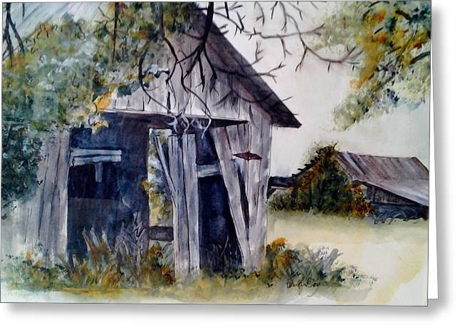 Shed Paintings Greeting Cards - Meanwhile Back at the Ranch Greeting Card by Paula Day