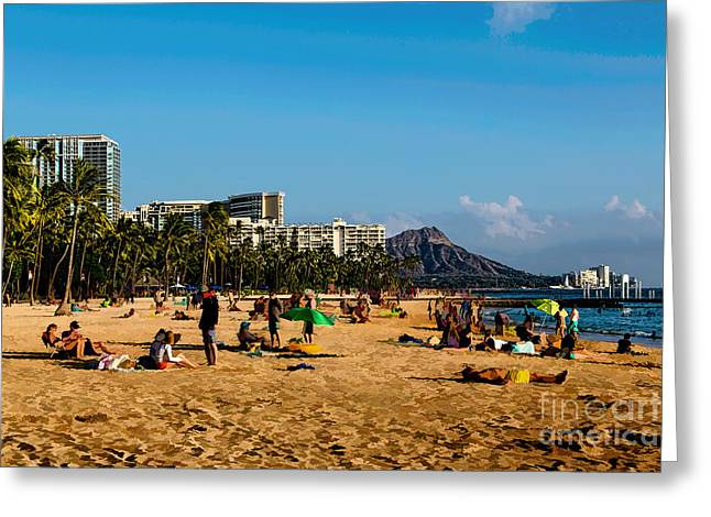 Kahanamoku Greeting Cards - Meanwhile on the Beach Greeting Card by Jon Burch Photography