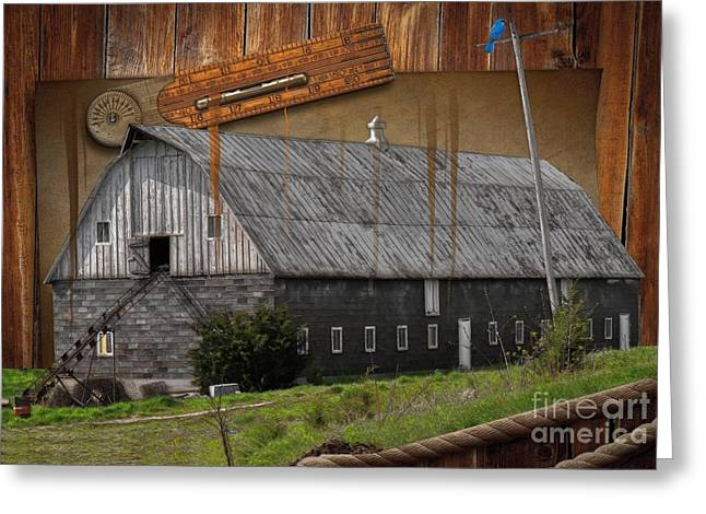 Old Barn Drawing Greeting Cards - Measure Of Time Gone By Greeting Card by Liane Wright