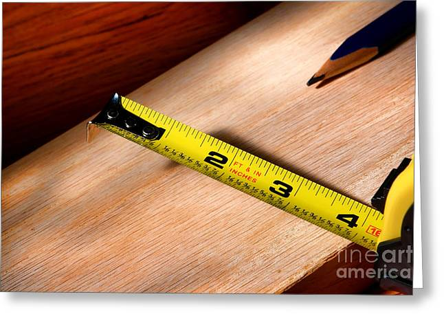 Carpentry Greeting Cards - Measure Twice Greeting Card by Olivier Le Queinec
