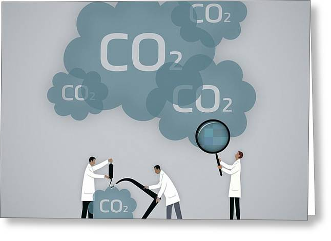 Measuring Carbon Footprint Greeting Card by Mark Airs