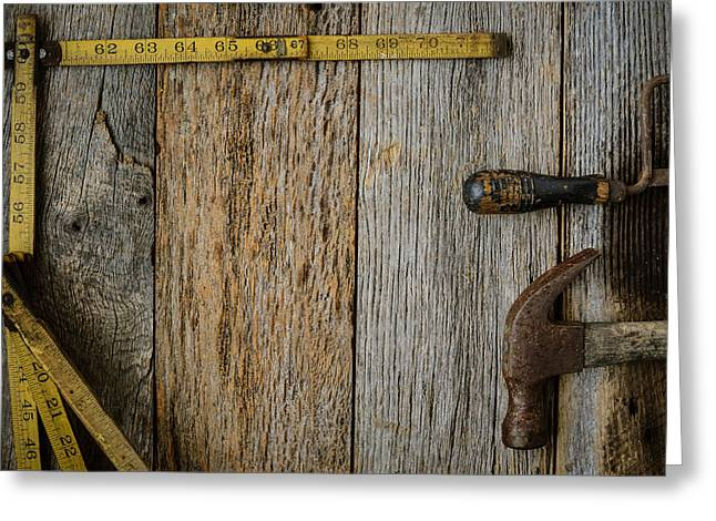 Yellow Hammer Greeting Cards - Measuring Tape Hammer and Saw on Rustic Old Wood Background Greeting Card by Brandon Bourdages