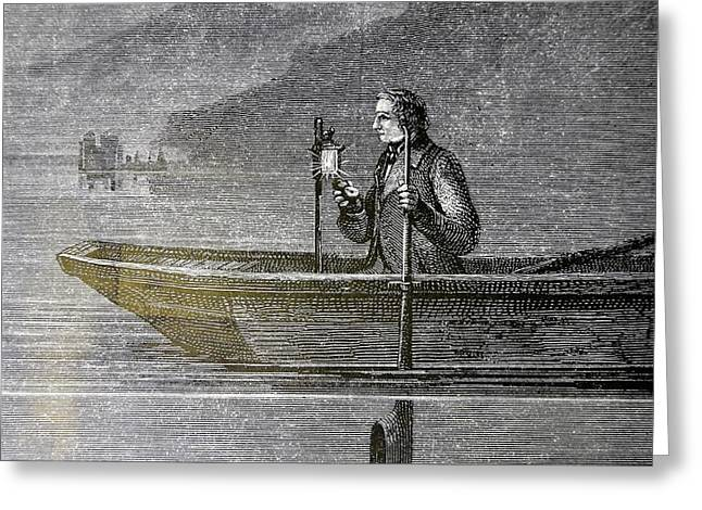Measuring The Velocity Of Sound In Water Greeting Card by Universal History Archive/uig