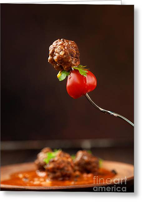 Italian Meal Greeting Cards - Meat balls Greeting Card by Mythja  Photography